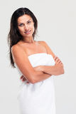 Portrait of a happy woman with towel and wet hair Royalty Free Stock Photography