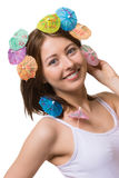 Portrait of happy woman with umbrella for drinks on her head. Royalty Free Stock Photo