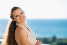 Portrait of happy woman on vacation Royalty Free Stock Image
