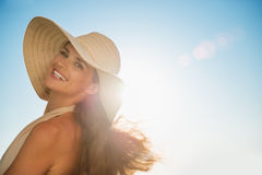 Portrait of happy woman on vacation Royalty Free Stock Photos