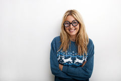 Portrait of happy woman wearing eyeglasses against white background Stock Photography