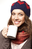 Portrait of woman with woolen accessories Stock Images