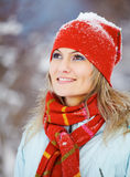 Portrait of happy woman in winter Stock Photos