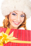 Portrait of a happy woman in a winter hat Stock Photography