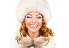 Portrait of a happy woman in a winter hat Royalty Free Stock Photos