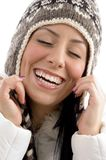 Portrait of happy woman with woolen cap Stock Photography