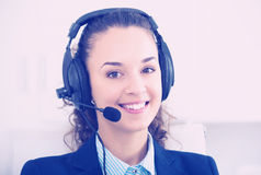 Portrait of happy woman working in call center Stock Photography