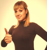 Portrait happy woman young girl shows positive sign thumbs yes, Royalty Free Stock Photos