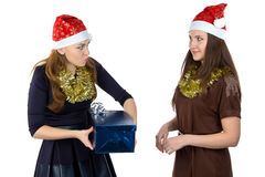 Portrait of happy women with the gift Royalty Free Stock Image