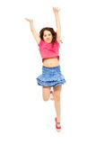 Happy jumping girl on whtie Royalty Free Stock Photography