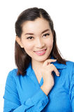 Portrait of happy young asia business woman smile isolated on wh Stock Photo