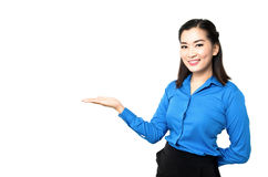 Portrait of happy young asia business woman smile and present ha Royalty Free Stock Photography