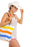 Portrait of happy young beach woman in hat Stock Photography