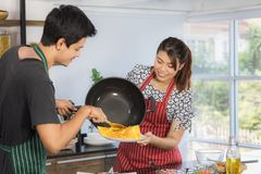 Asian couple at kitchen room stock photo