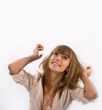 Portrait of a happy young beautiful woman. Looking up. Lots of copyspace and room for text Royalty Free Stock Photo