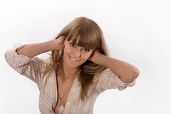 Portrait of a happy young beautiful woman. Looking at the camera Royalty Free Stock Photos