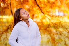 Portrait of a happy young beautiful woman in autumn season in white woolen jacket outdoor with colorful autumn background. Royalty Free Stock Photography