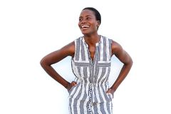 Happy young black woman smiling on white background Stock Photography