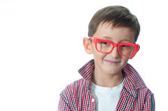 Portrait of a happy young boy in spectacles. Portrait of a happy young boy in spectacles – isolated over white background Royalty Free Stock Photos