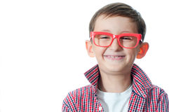 Portrait of a happy young boy in spectacles. Stock Images
