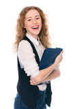 Portrait of happy young business woman isolated on white backgro Royalty Free Stock Photo