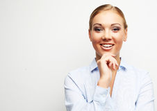 Portrait of happy young business woman over white background stock image