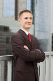 Portrait of a happy young businessman. Outdoor the office Royalty Free Stock Images