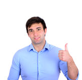 Portrait of happy young businessman holding thumbs up isolated o Royalty Free Stock Photos