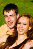 Portrait of a happy young couple Stock Photos