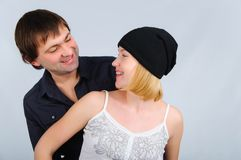 Portrait happy young couple Stock Images