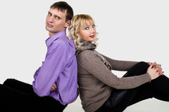 Portrait of happy young couple Stock Photos