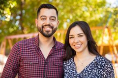 Portrait of a happy young couple stock images