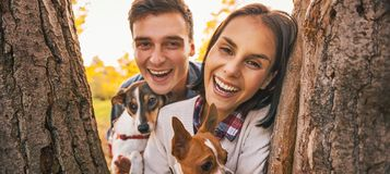 Portrait of happy young couple with dogs outdoors in autumn park Royalty Free Stock Photography