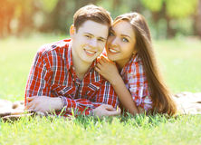 Portrait happy young couple having fun Stock Photos