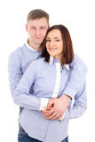 Portrait of happy young couple isolated on white Stock Photography