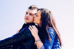 Portrait of happy young couple Stock Images