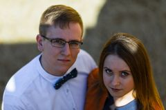 Portrait of happy young couple in love on blurred nature backgro Royalty Free Stock Photos