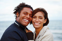 Portrait of a happy young couple outdoors Stock Images