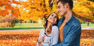 Portrait of happy couple outdoors in autumn Stock Photography