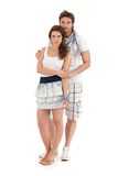 Portrait of happy young couple in summer outfit Stock Photography