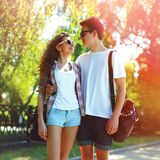 Portrait of happy young couple teenagers stock photos