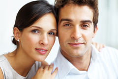 Portrait of happy young couple together Stock Photo