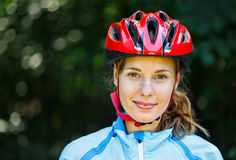 Portrait of happy young cyclist Stock Photography