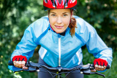 Portrait of happy young cyclist Stock Photos