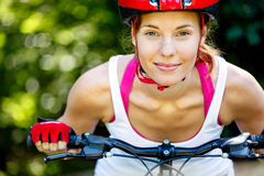 Portrait of happy young cyclist Stock Image