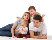 Portrait of happy young family Stock Photo
