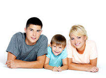 Portrait of a happy young family Stock Images