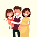 Portrait of a happy young family. Dad, daughter and pregnant mot. Her. Vector illustration of a flat design Royalty Free Stock Image