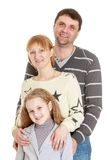 Portrait of happy young family dad mom and Stock Photo