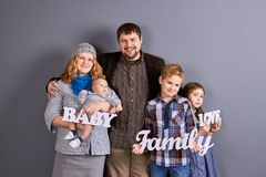 Portrait of happy young family. royalty free stock photos